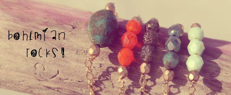 bohemian rocks! Czech glass beads and 16k gold plated chain bracelets.