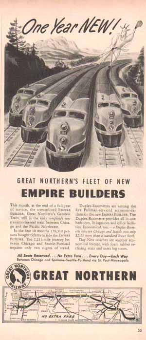 Great Northern Railroad 1948 Ad- Empire Builders
