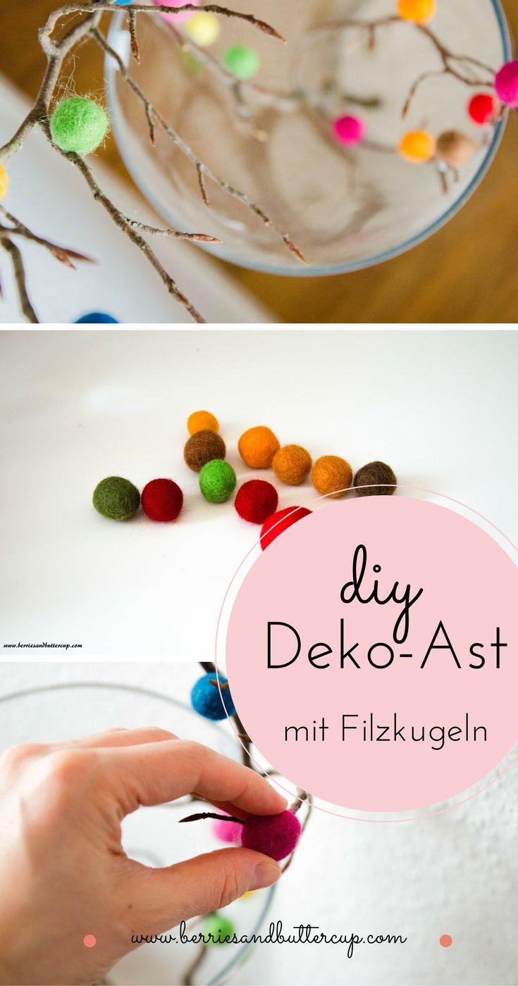 Dieses super einfache Oster-DIY mit Filzkugeln ist eine tolle Last-Minute-Deko-Idee