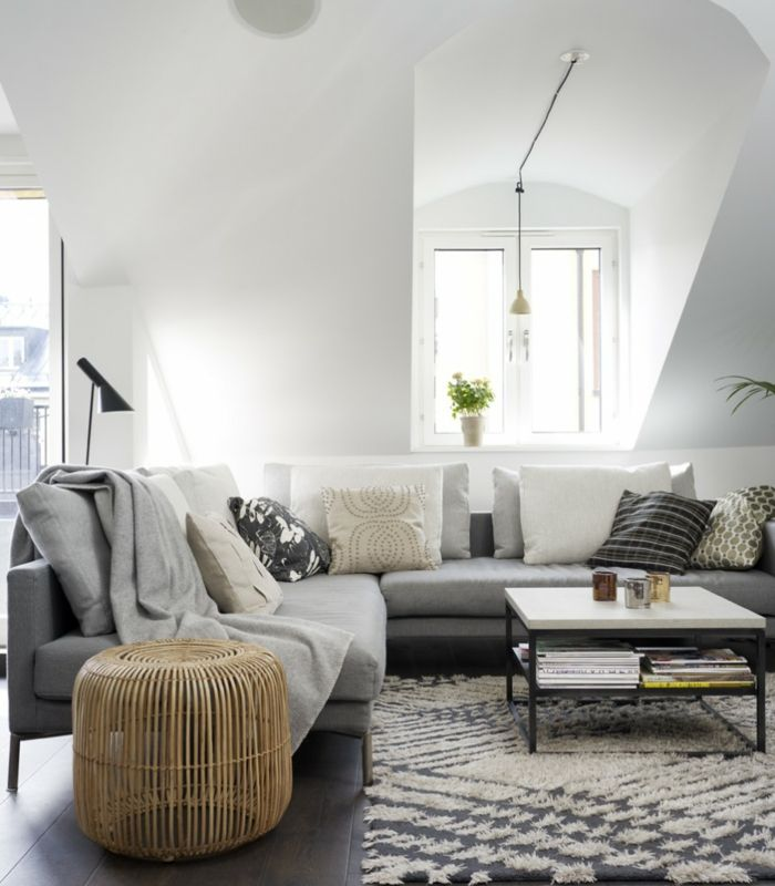 Sofa Grau Ecksofa Wohnzimmer Einrichten Ideen Beistelltisch Dachschrge