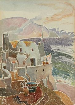 """Bay Houses, Amalfi Coast, Italy,"" Louis I. Kahn, ca. 1929, watercolor and pencil on paper, 15 x 11"", private collection."