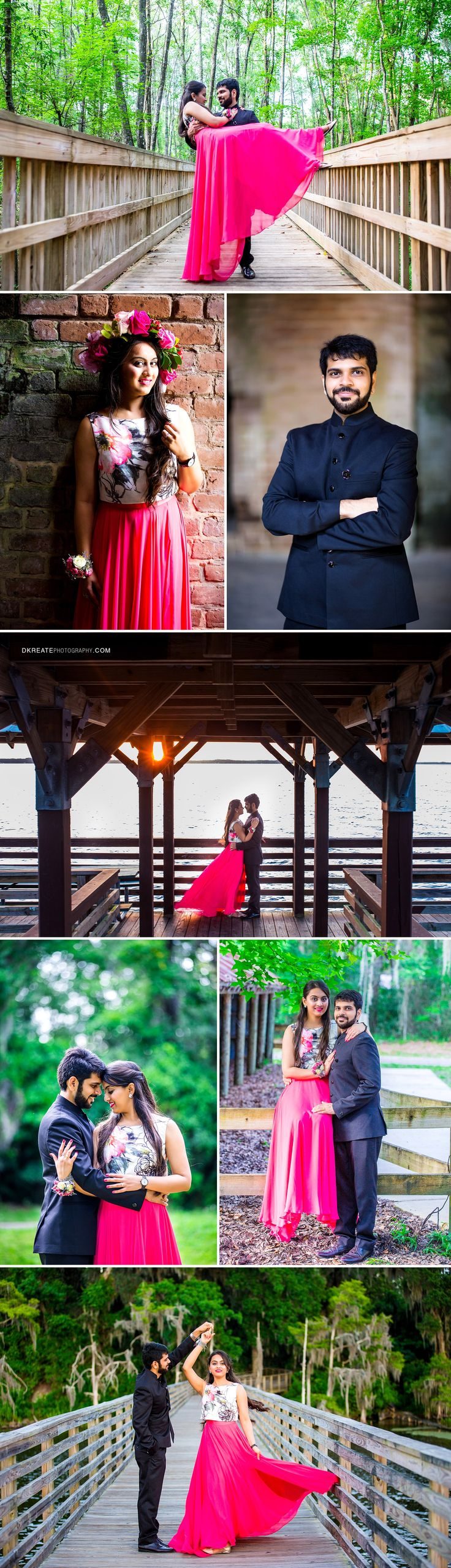 Indian Pre Wedding Photography Inspiration | Cute, vibrant, colorful, fresh, couple pictures, pictures in the woods and pier | Fuschia Pink flowing skirt | Fresh Flower Headband | Engagement Photos Alpine Groove Park Jacksonville Florida |