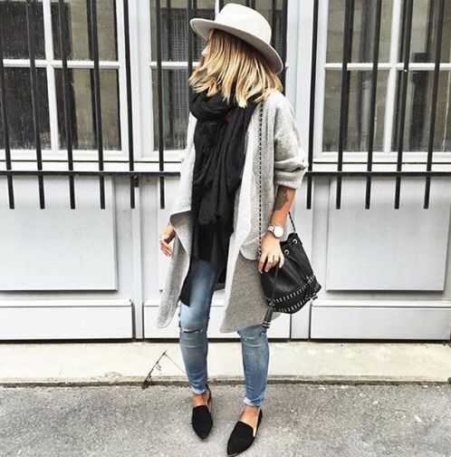 black chunky scarf + grey coat #topshop: