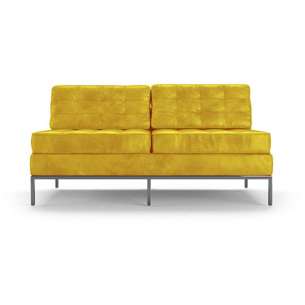 Joybird Franklin Mid Century Modern Yellow Leather Armless Loveseat (26,405  CNY) ❤ Liked On Polyvore Featuring Home, Furniture, Sofas, Loveseats, Yellow,  ...