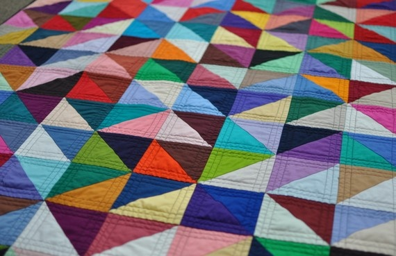 triangle quilt via etsyHalf Squares Triangles, Triangle Quilts, Geometric Inspiration, Country Living Magazine, Triangles Quilt, Little Red Hens, Traditional Quilt, Quilt Fabrics, Quilt Pattern