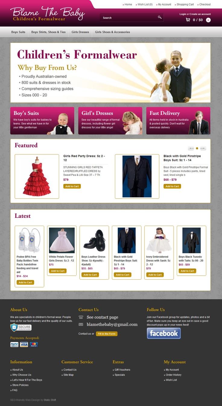 Web design for Blame The Baby Children's Formalwear