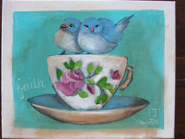 Bluebirds on a cup