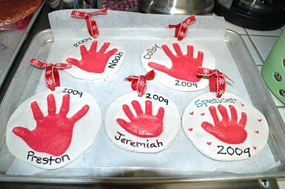 salt dough handprint. these were for christmas but could also be made for mother's day