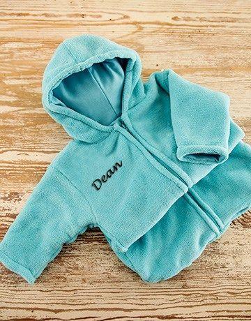 Personalised Blue Fleece Baby Sleeping Jacket