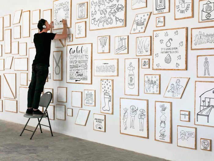 """I love this!  """"Finally, I hand drew over 115 """"moments"""" that represent internal experiences that employees have shared together over the years."""" Timothy Goodman: Airbnb Installation / on Design Work Life"""