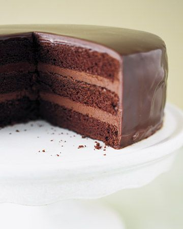 Chocolate cake with chocolate ganache.
