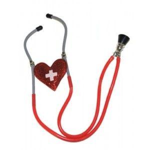 Stéthoscope infirmière avec coeur rouge pailleté, accessoire déguisement infirmière