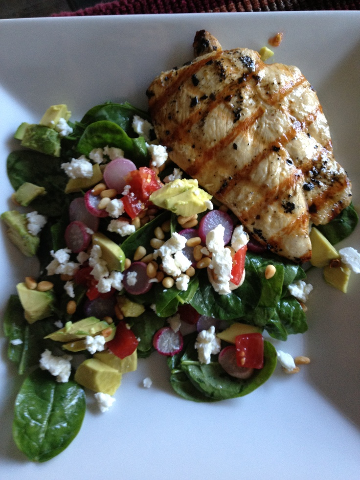 Grilled chicken (marinated in Gazebo Room Dressing) over spinach salad with avocado, roasted radishes, goat cheese, tomatoes and pine nuts-vinaigrette dressing