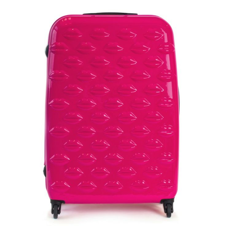 Lulu Guinness shocking large pink hard-sided Lips spinner case