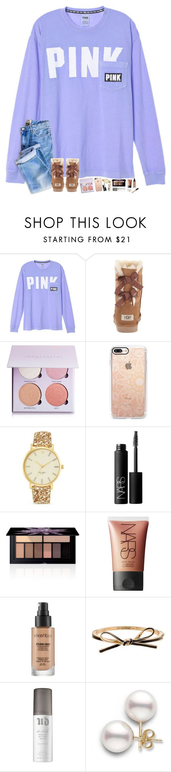 """""""going to try some new stuff on here.. updates in d 💜"""" by hopemarlee ❤ liked on Polyvore featuring UGG Australia, Anastasia Beverly Hills, Casetify, Kate Spade, NARS Cosmetics, Smashbox, Urban Decay, Too Faced Cosmetics and hmsloves"""