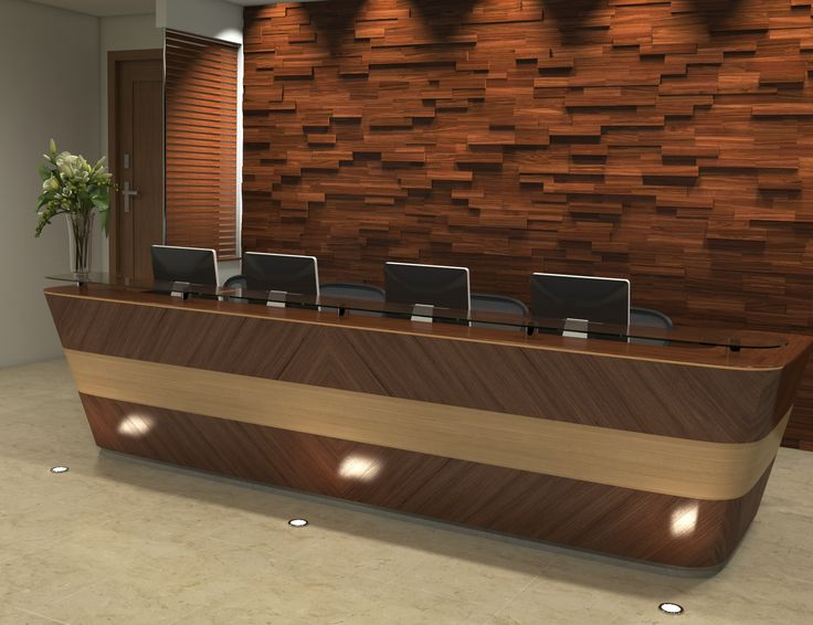 Lobby reception wall wood paneling