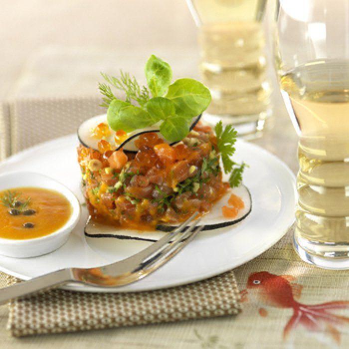Tartare de saumon à la vinaigrette de papaye