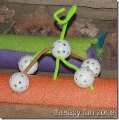 Fine Motor Wiffle Ball Creatures.  Super creative, super affordable.  Visit pinterest.com/arktherapeutic for more #finemotor ideas