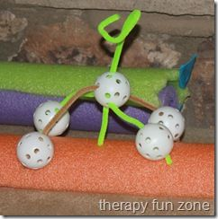 Fine Motor Wiffle Ball Creatures.  Super creative, super affordable.  Visit pinterest.com/arktherapeutic for more #finemotor ideas