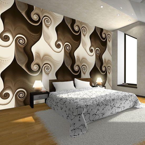 Delikatny motyw w ciepłych, czekoladowych barwach, idealnie podkreśli charakter sypialni.