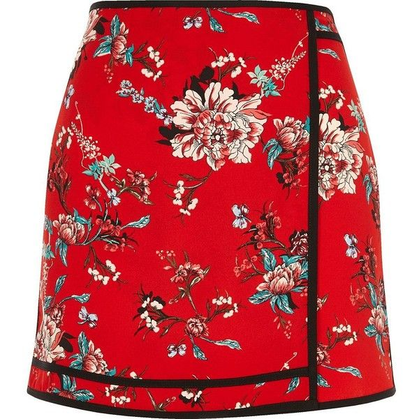 River Island Red floral print mini skirt ($37) ❤ liked on Polyvore featuring skirts, mini skirts, bottoms, red, women, floral print skirt, short skirts, floral skirt, river island and tall skirts