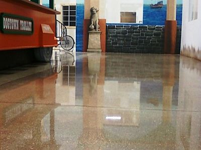 stained, polished concrete
