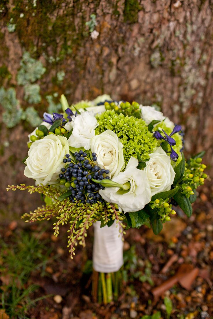 green, blue and white bridal bouquet