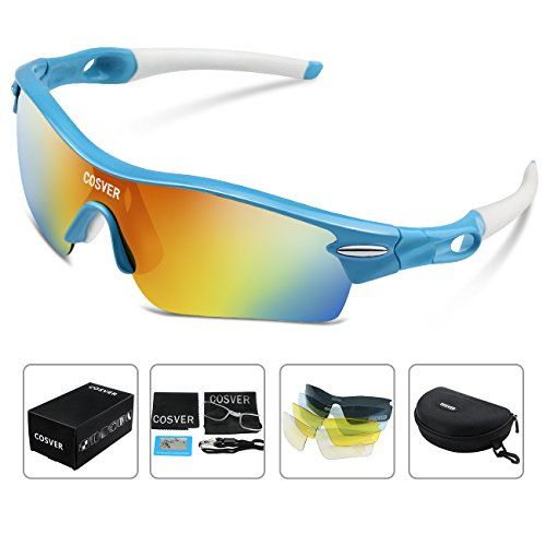 COSVER Fashion Polarized Sports Sunglasses with 5 Lenses for Men Women Driving Cycling Running Tactical Glasses BlueWhite Multicoloured ** Learn more by visiting the image link.