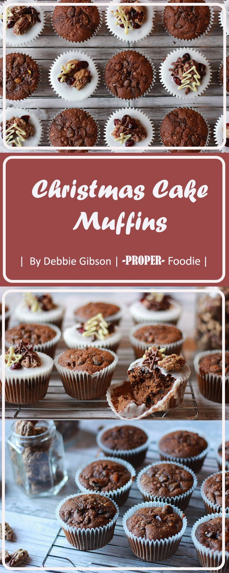 Christmas cake muffins topped with icing and homemade sugared pecans and chocolate stars | ProperFoodie