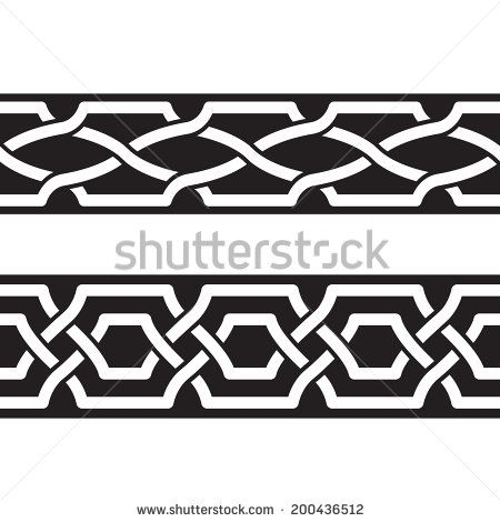 Seamless geometric tiling borders. Inspired by old ottoman and arabian ornaments - stock vector