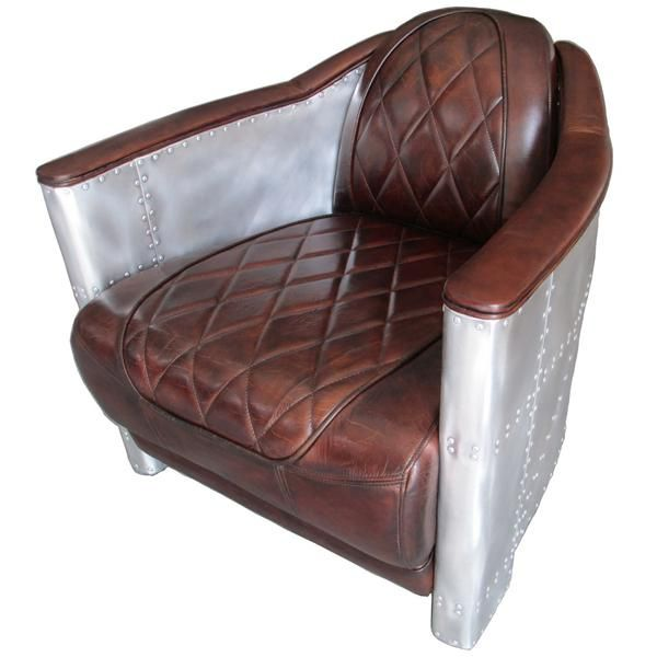 vintage aviator dark brown leather armchair