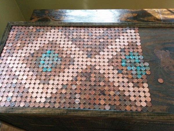 Soak pennies in salt and vinegar then let them air dry to oxidize them. Guy used them for the pattern for the top of his bar.