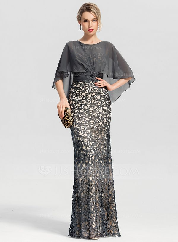 Trumpet/Mermaid Scoop Neck Floor-Length Lace Evening Dress With Beading Sequins (017153636) - Evening Dresses - JJ's House