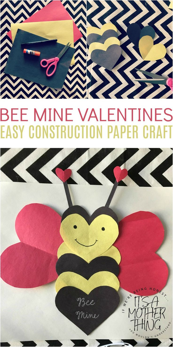 """Bee"" Mine Valentine  Easy Construction Paper Craft via @amotherthing"