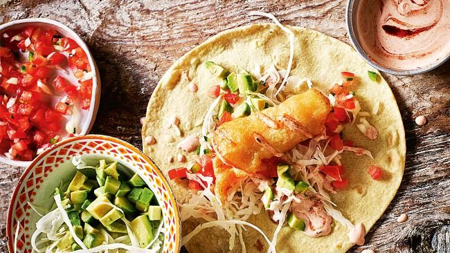 Recipe: ensenada fish tacos with chilli and coriander. Photography by James Murphy. From the February 2018 issue of Inside Out Magazine. Available from newsagents, Zinio, https://au.zinio.com/magazine/Inside-Out-/pr-500646627/cat-cat1680012#/ and Nook.