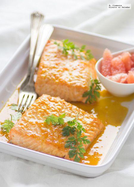 Salmón Horno con salsa de cítricos y jenjibre.