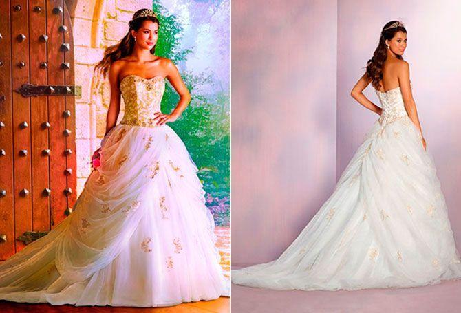 Bella: este vestido dedicado a la protagonista de 'La Bella y la Bestia' desprende lujo y sofisticación por donde se lo mire. El corsé destaca gracias a las perlas, cristales y los diamantes de imitación que dan color a este look principesco.