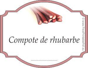 Rhubarbe étiquette de compote pour les bocaux