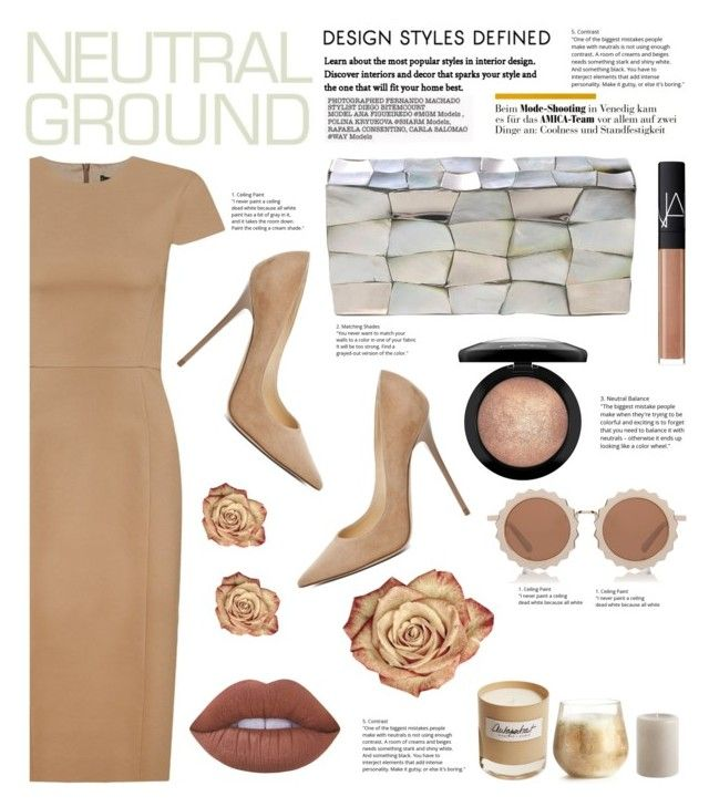 """Neutral style"" by irixiketa ❤ liked on Polyvore featuring Andrea Marques, Jimmy Choo, Jo-Liza, MAC Cosmetics, NARS Cosmetics, Lime Crime, Olfactive Studio, Illume, Pier 1 Imports and House of Holland"