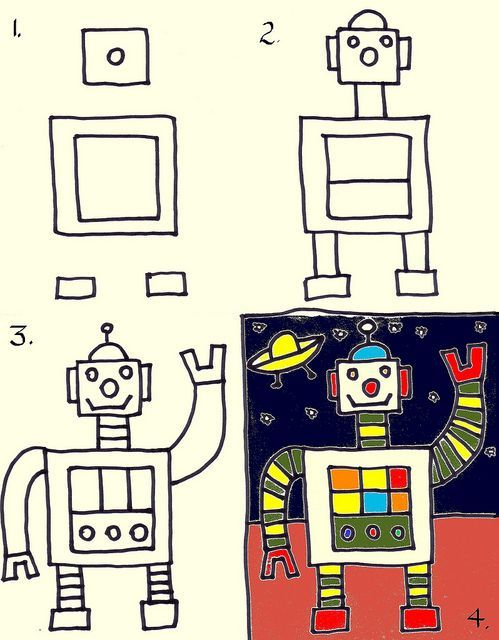 how to draw a robot easy step by step