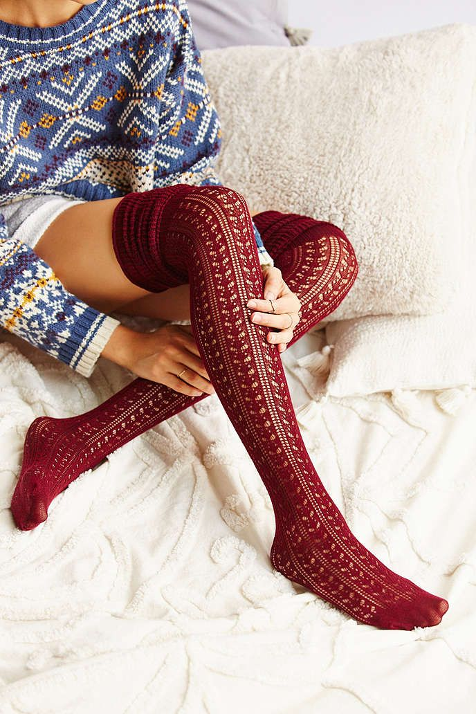 Tonal Scrunch Over-The-Knee Sock - Urban Outfitters