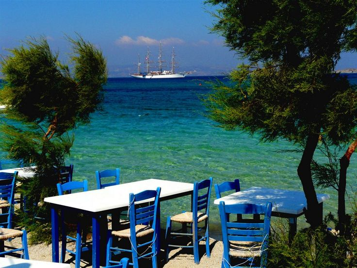 #Greek taverna on the beach, #Naxos island, #Greece