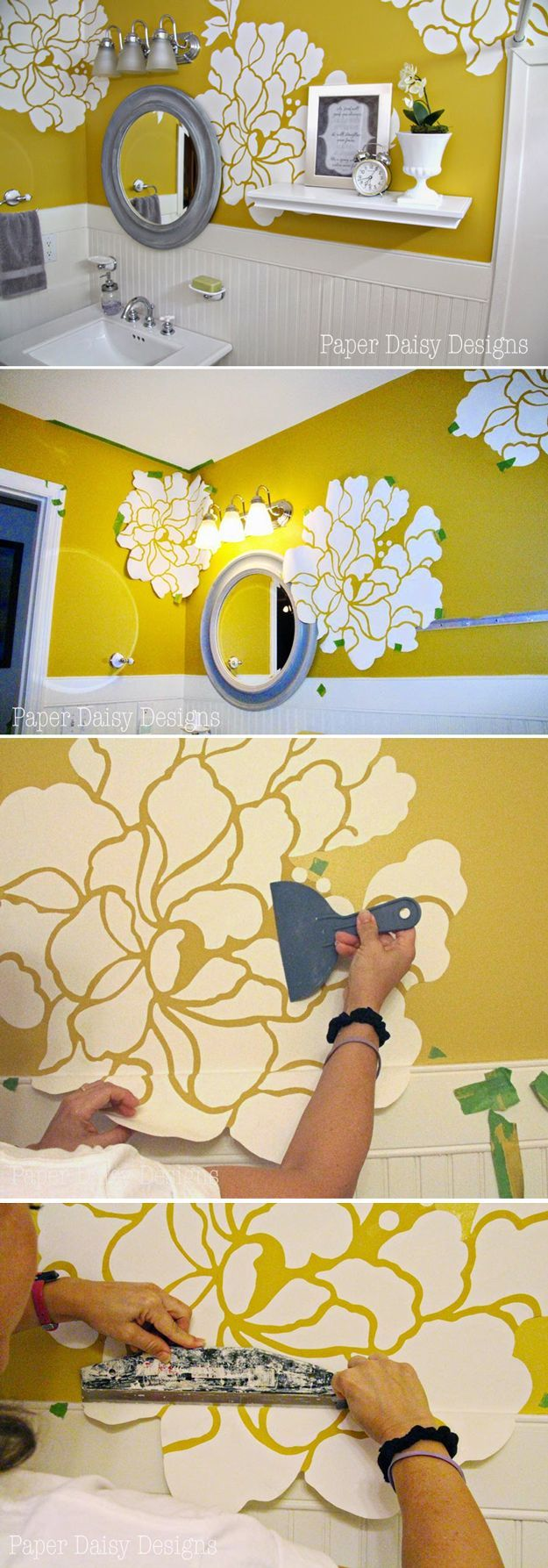 Love the wallpaper idea! Wonder if I can use ModPodge, or something similar to make it not quite so permanent. Anthropologie Wall Paper Hack | DIY Home Decor Anthropologie Hack Design Ideas by DIY Ready at http://diyready.com/diy-decor-anthropologie-hacks/