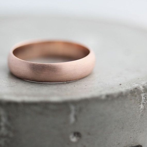 Mens Fine 5mm Hammered Wedding Band in Solid 10k Rose Gold
