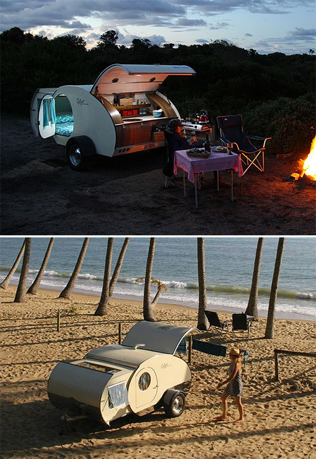 Gidget Teardrop Camper -- it was designed and tested in Australia and features an expandable slide-out design for amenities like a Queen-size bed, a spacious, pop-up rear galley, & a 110-watt solar power system.