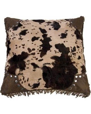 Amazing Deal on Accents Scalloped 18-inch Faux Cowhide Pillow (Faux Cowhide Accent Pillow), Brown, Size 18 x 18 (Synthetic Leather, Embroidered)