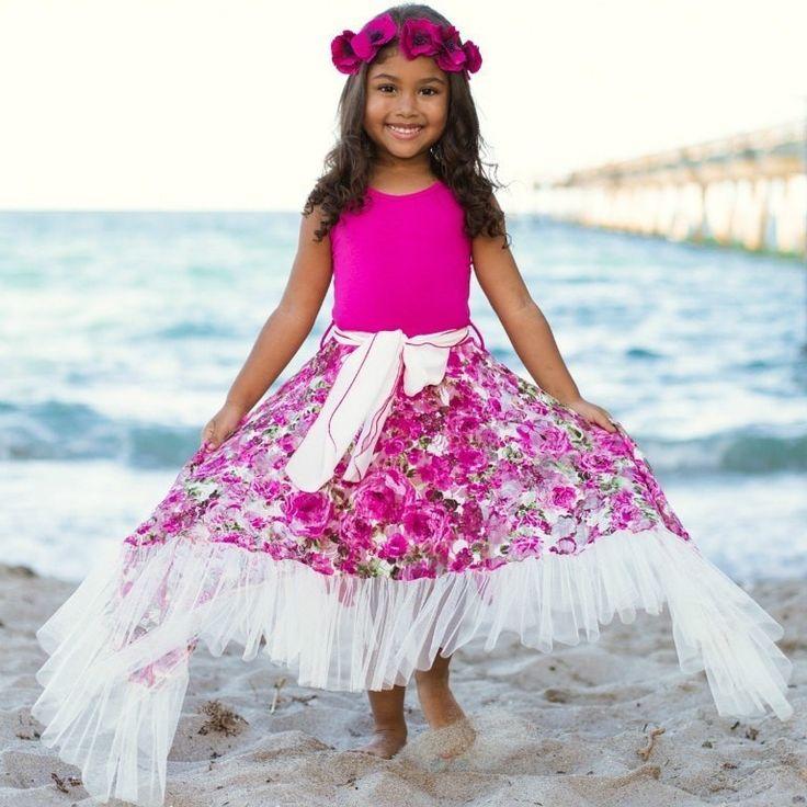 Girls Fuchsia Floral Print Lace Side Tail Halter Maxi Dress w/ Ruffle Hem
