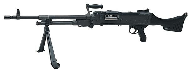 FN MAG / M240G, lightened USMC modification, with no heat shield on the barrel.