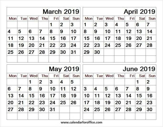 March April May And June 2019 Calendar June 2019 Calendar