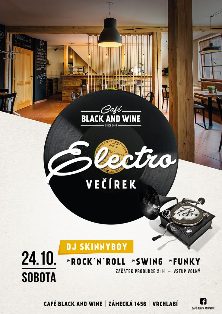 Poster design. Party in Café Black and Wine vrchlabí.